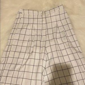white high waisted grid wide leg dress pants